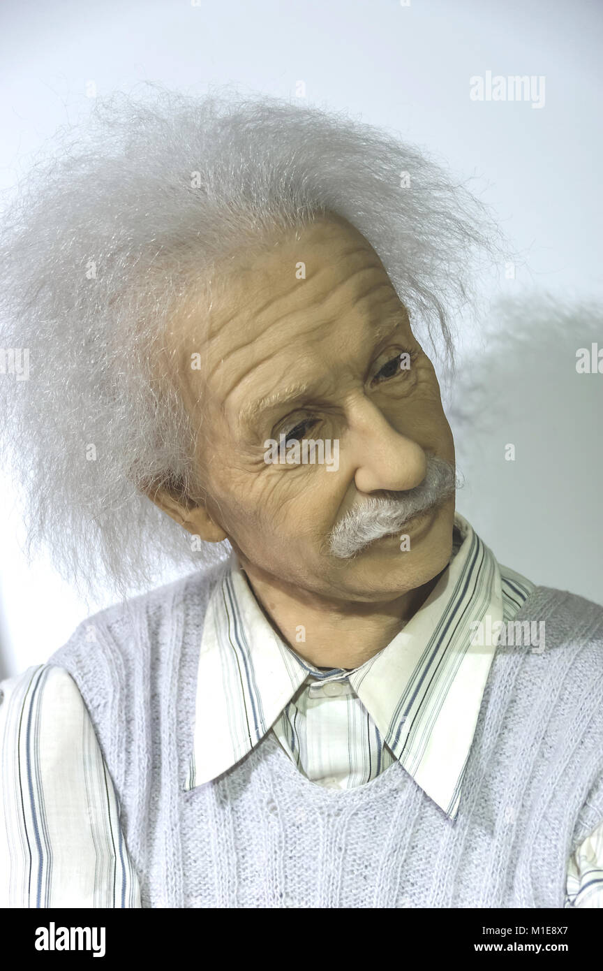 Wax statue of Albert Einstein at the Krakow Wax Museum - Cracow, Poland. - Stock Image