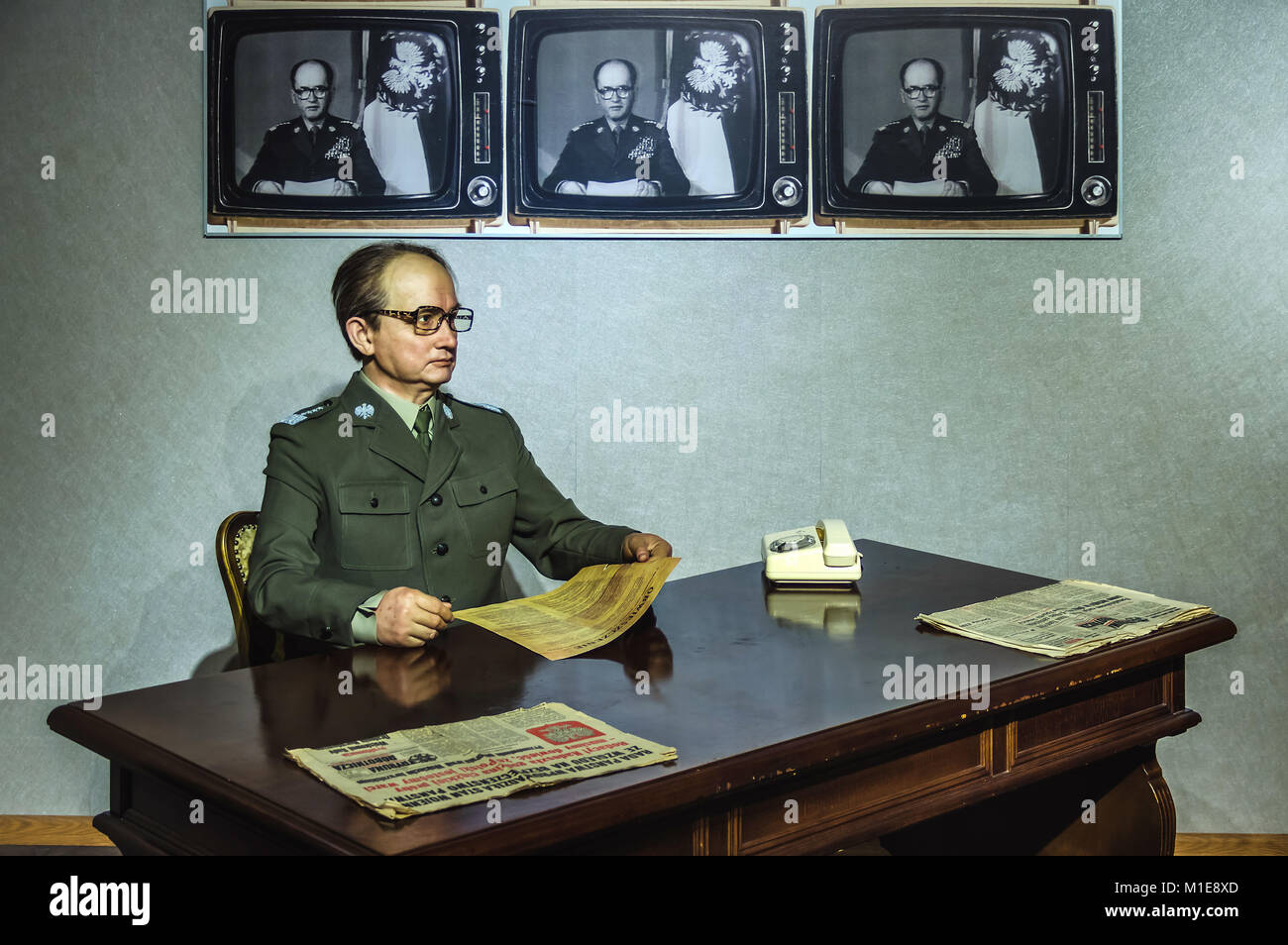 Wax statue of General Wojciech Jaruzelski, the last leader of the communist Poland at the Krakow Wax Museum - Cracow, - Stock Image