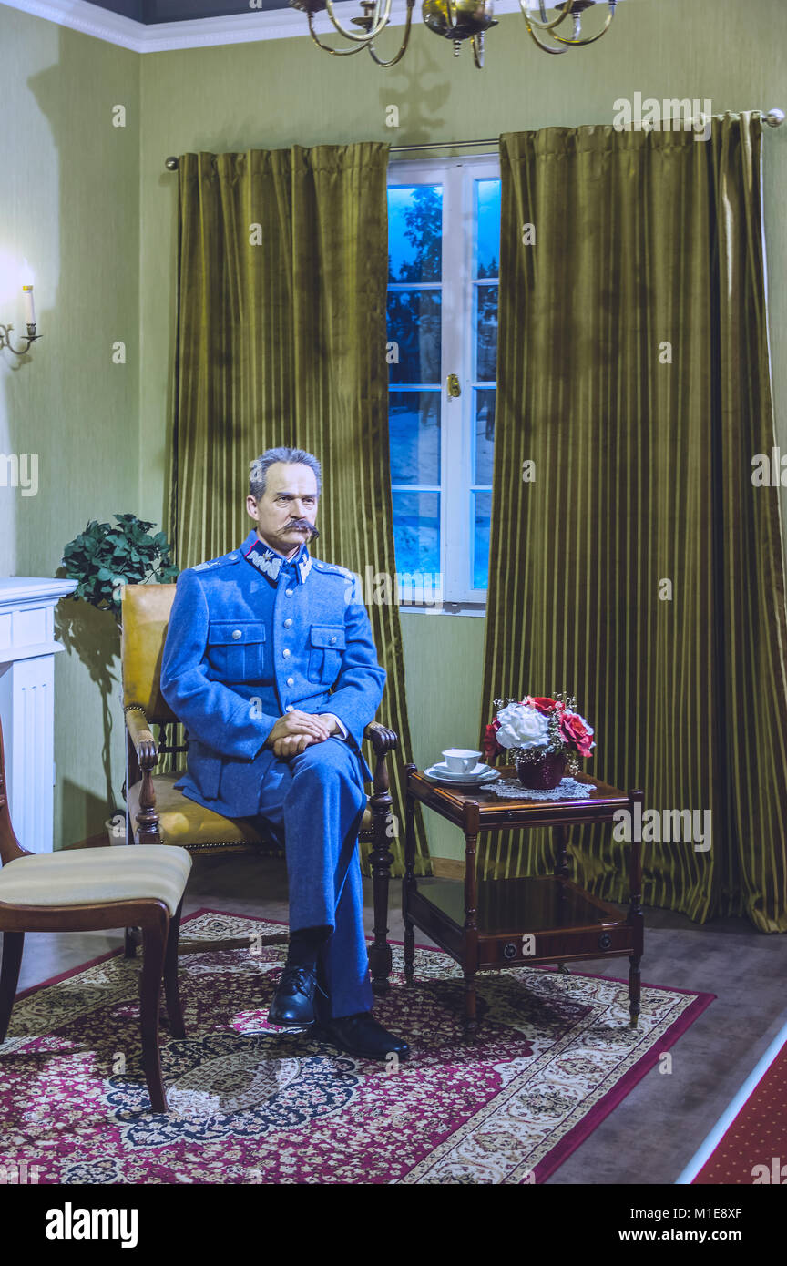 Wax statue of Marshal Jozef Pilsudski at the Krakow Wax Museum - Cracow, Poland. - Stock Image