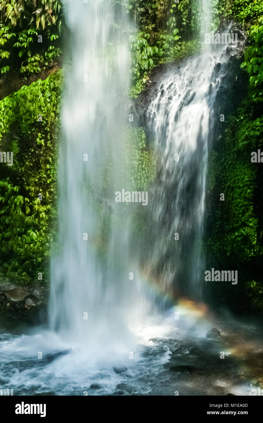 Small waterfall in the dense jungle of the tropical island of Lombok, Indonesia - Stock Image