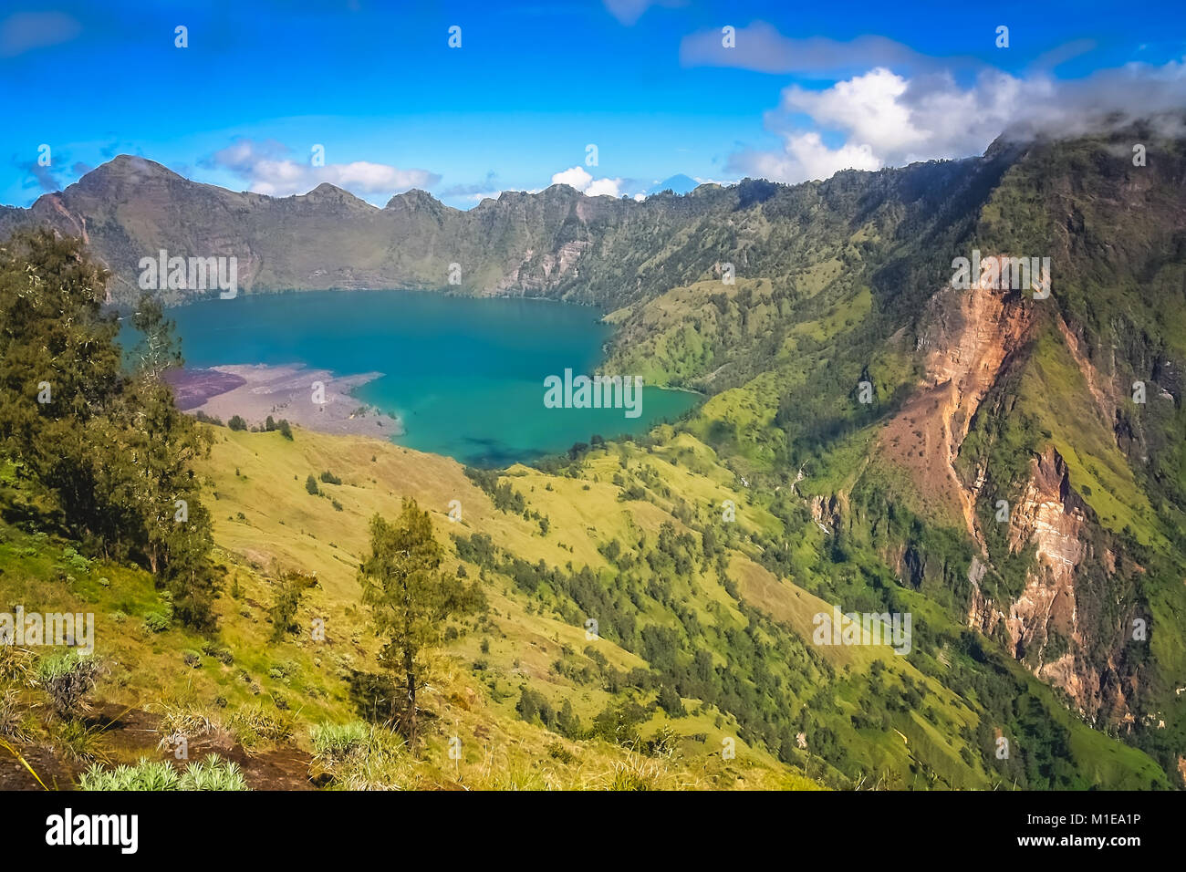 Torquise lake inside the caldera of Gunung Rinjani volcano in Lombok island,  Indonesia - Stock Image