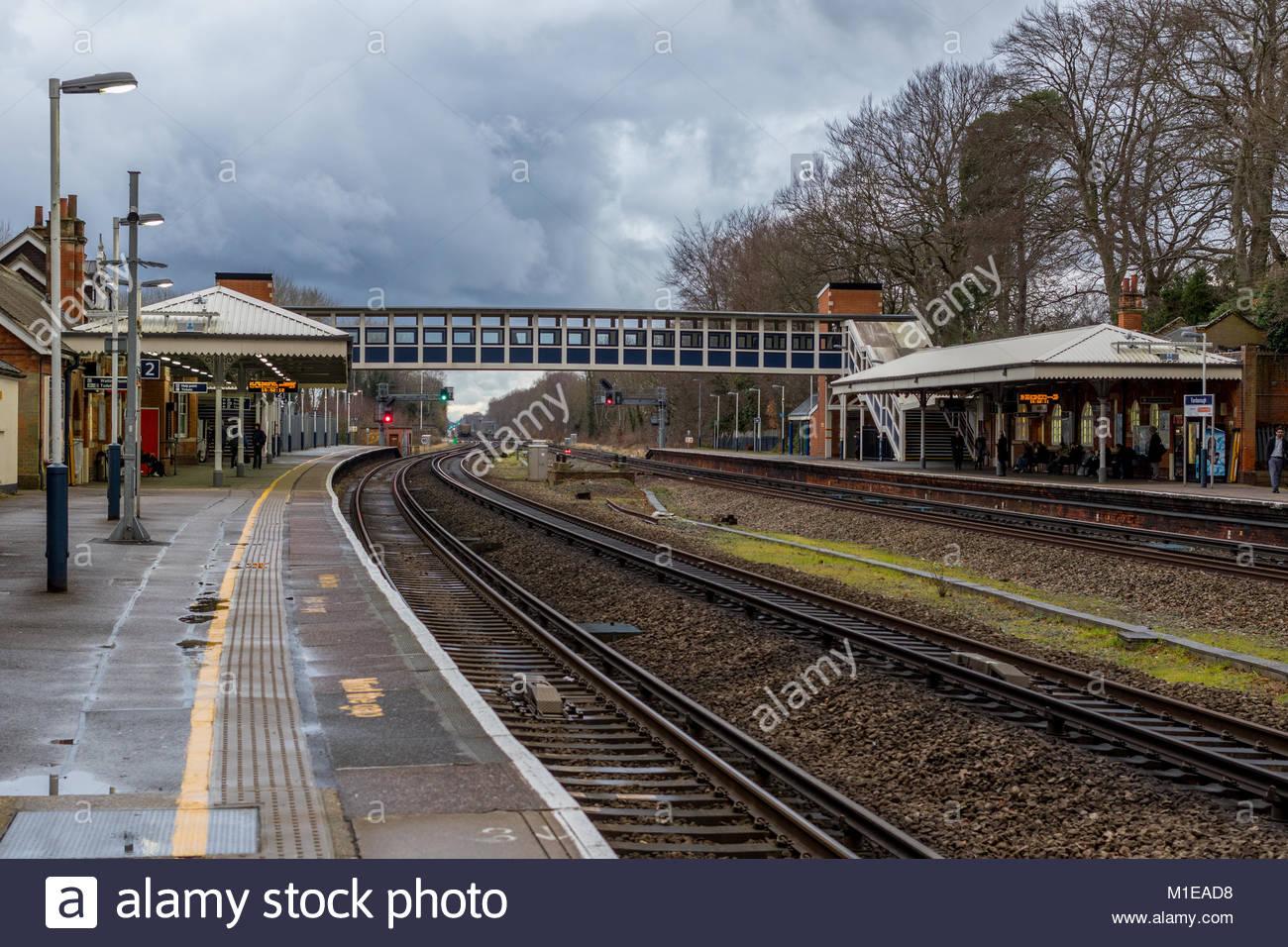 Storm Clouds over Farnborough Main Railway Station, Hampshire, UK - Stock Image