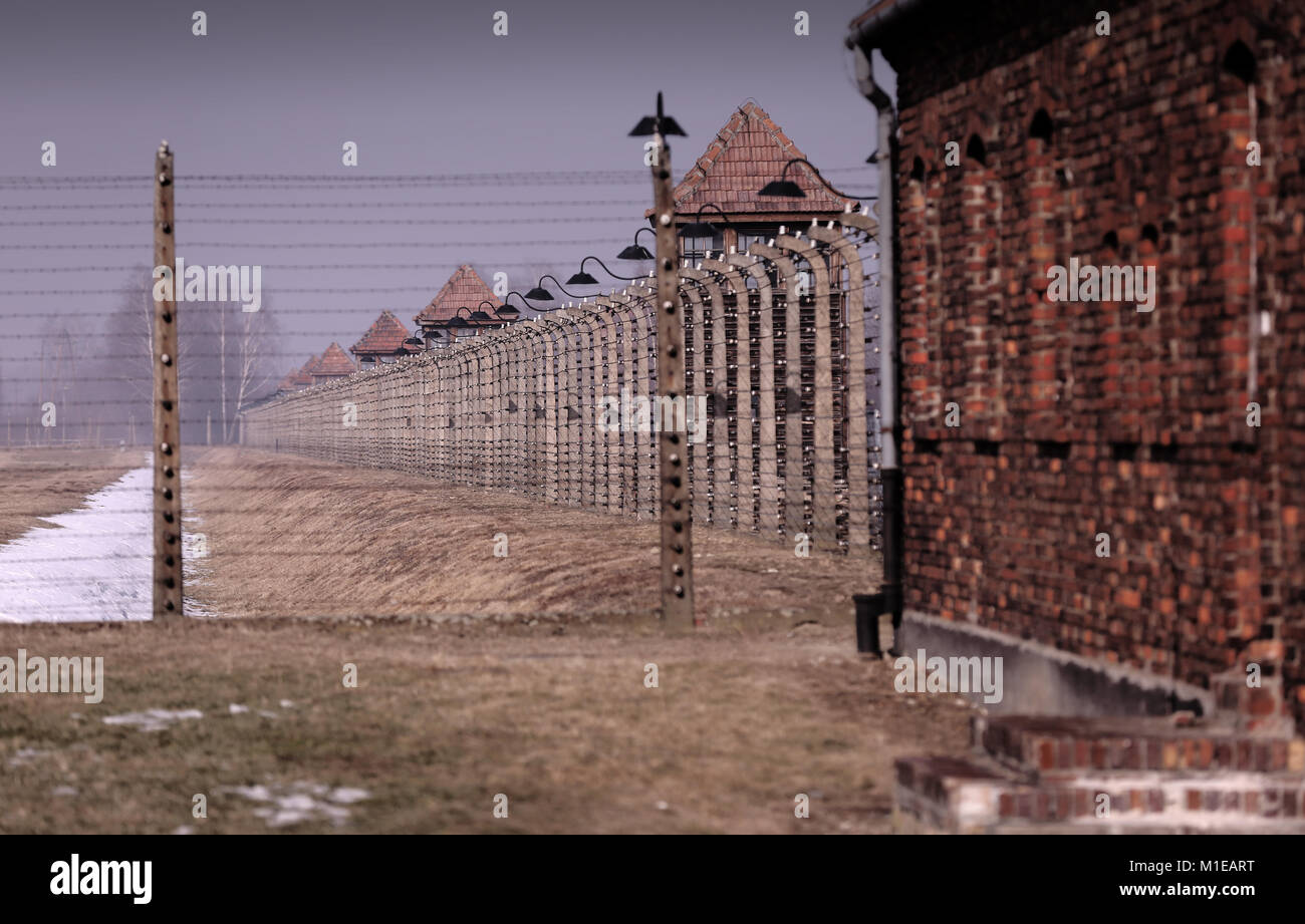 View inside Auschwitz II - Birkenau along electric fence, watchtowers and barbed wire blurring to distance. - Stock Image