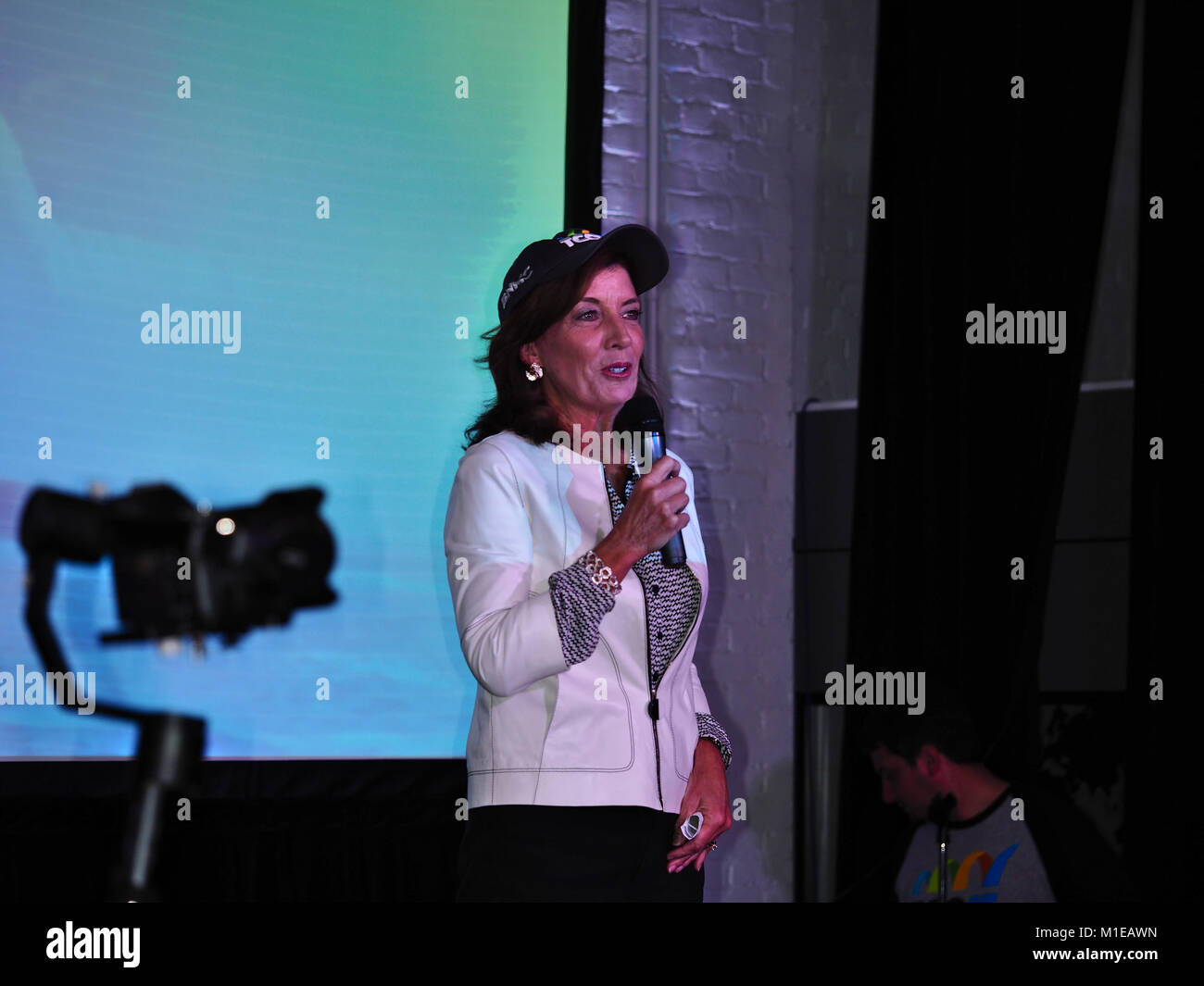 "Kathleen Courtney ""Kathy"" Hochul, Lieutenant Governor of the State of New York, speaking at Topcoder Open 2017 finals. Stock Photo"