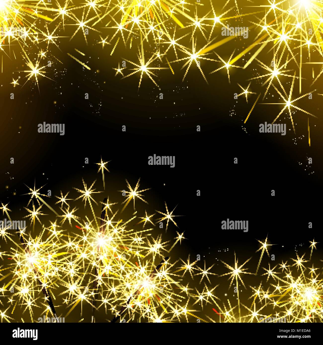 sparklers and fireworks on the black background - Stock Vector