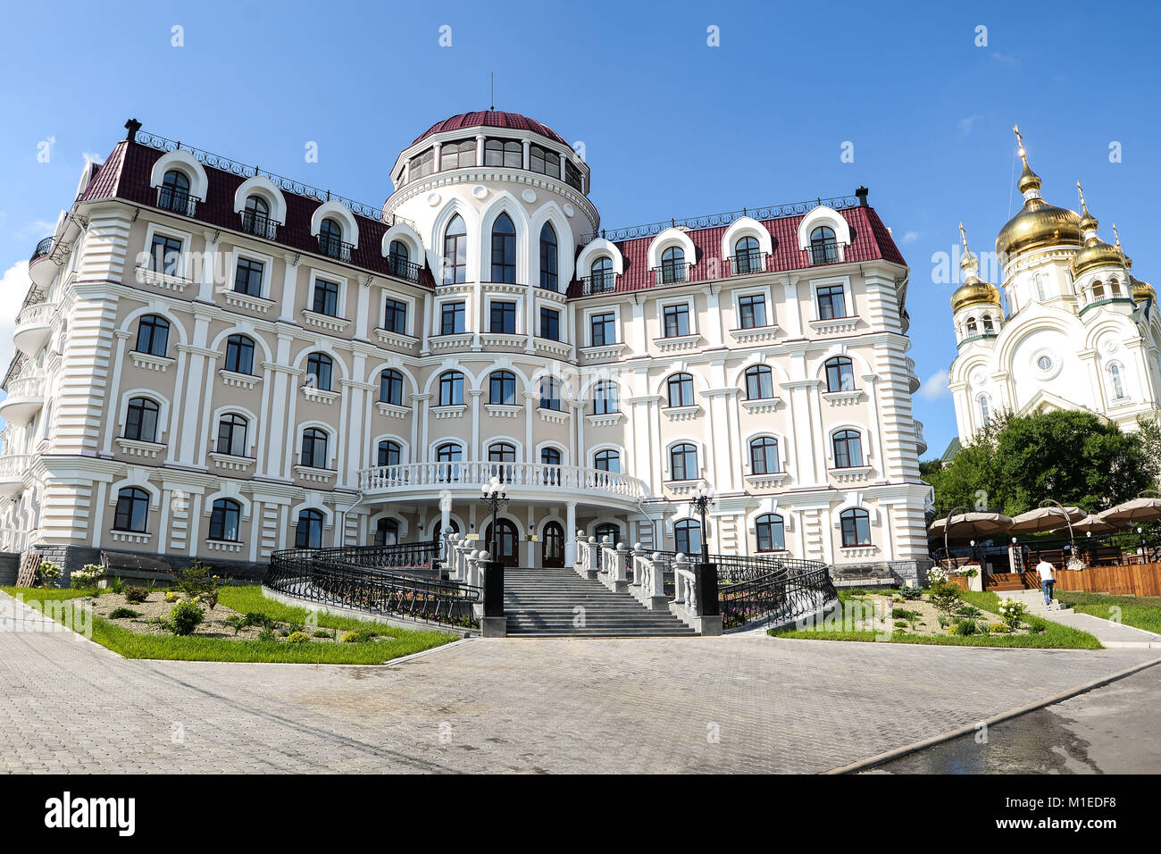 Khabarovsk Sopka hotel summer view of the front . the areas of Fame far eastern - Stock Image