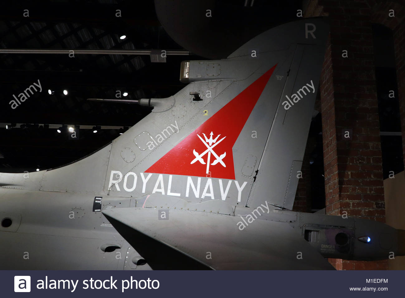 BRISTOL, UNITED KINGDOM: Aircraft Tailplane with Royal Navy Sign - Stock Image