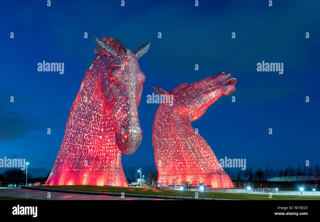 Night view of The Kelpies , large sculptures of horses, at Helix Park in Falkirk, Scotland, united Kingdom - Stock Image