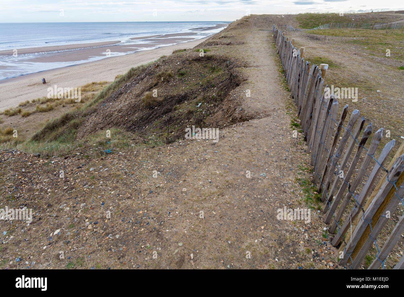 Precarious footpath along the cliffs at Hartlepool,England,UK - Stock Image