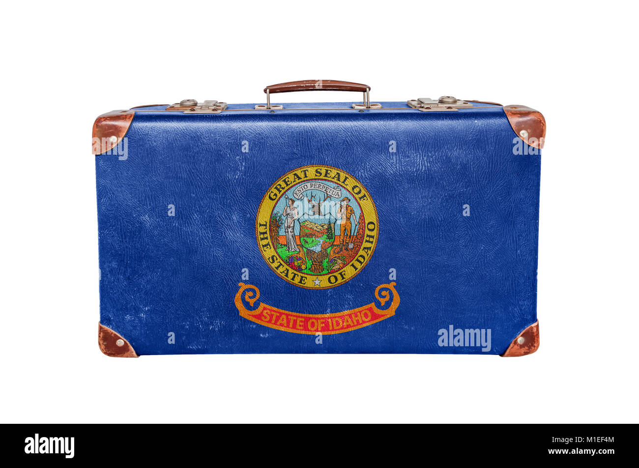 Vintage suitcase with United states Idaho flag - Stock Image