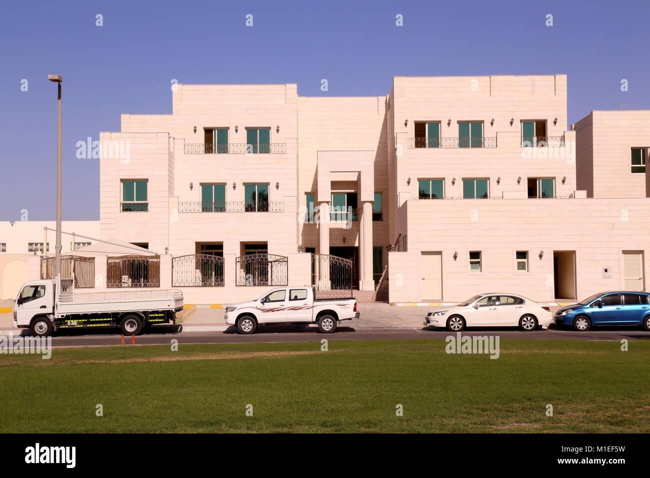 Contemporary Villa with Natural Stone Cladding - Shot from Dubai - Stock Image