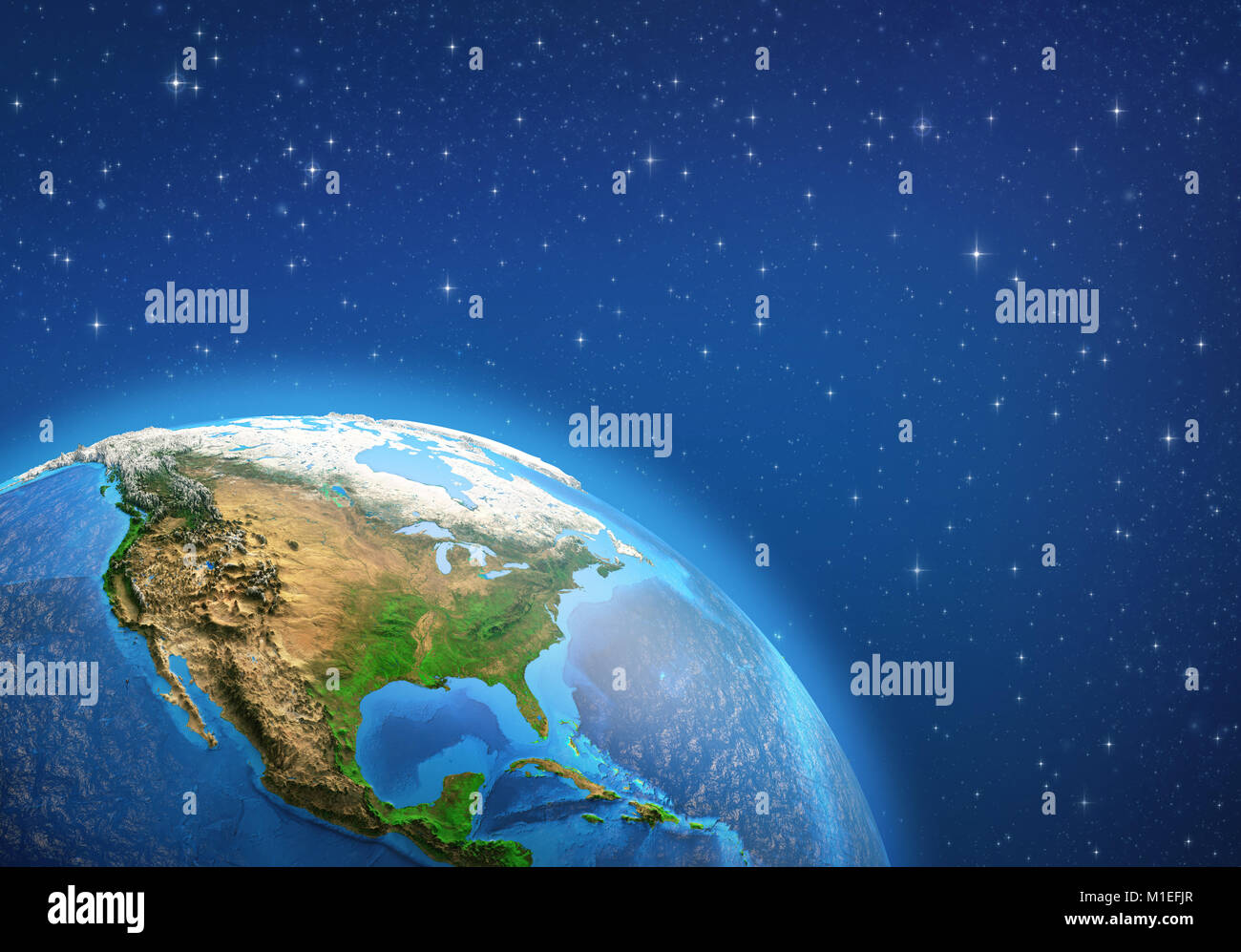 Planet Earth in deep space, focused on North America. 3D illustration - Elements of this image furnished by NASA. - Stock Image