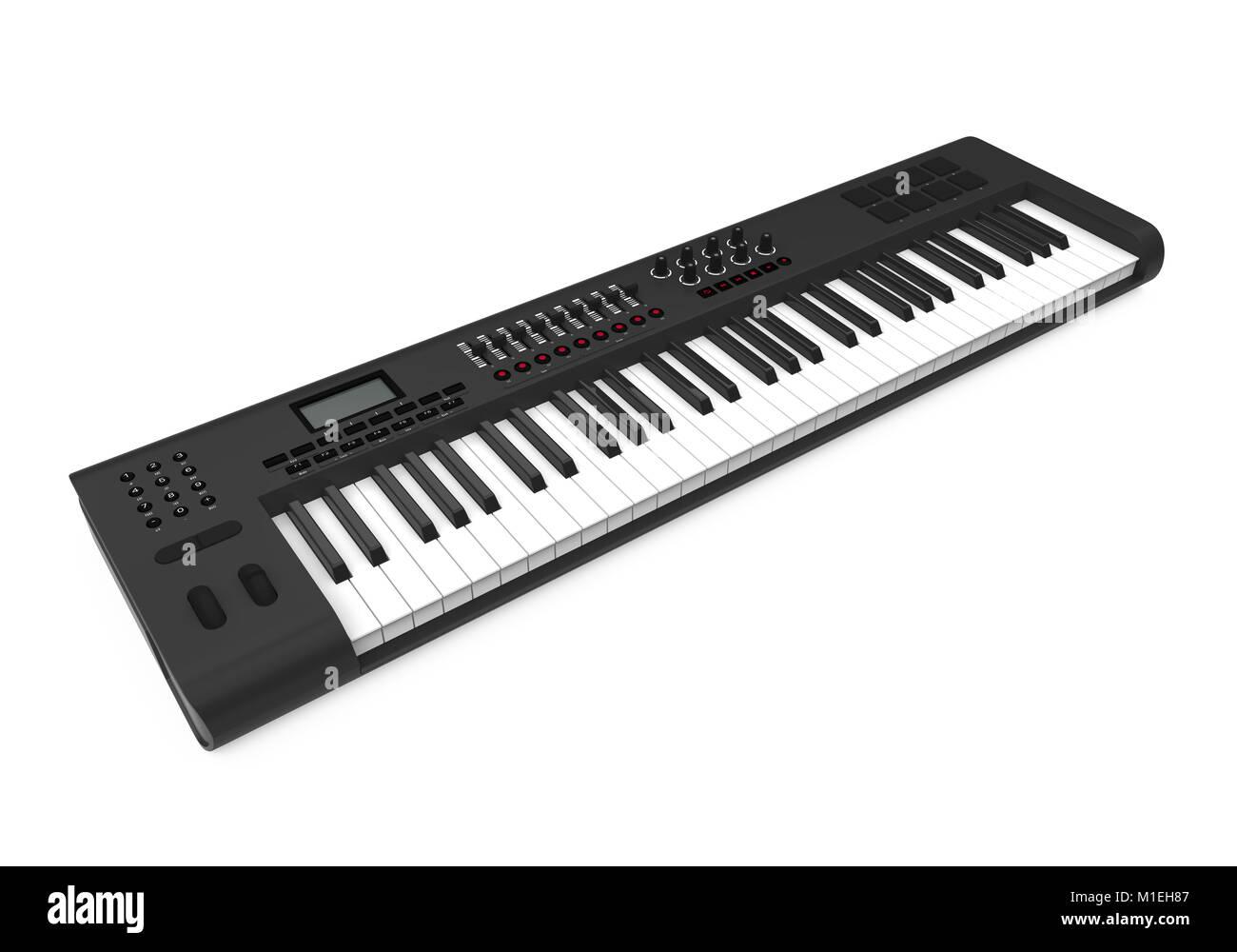 Electronic Synthesizer Piano Keyboard Isolated - Stock Image