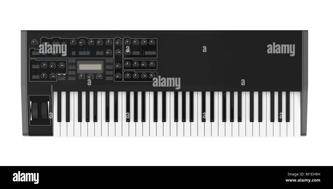 Electronic Synthesizer Piano Keyboard Isolated - Stock Image