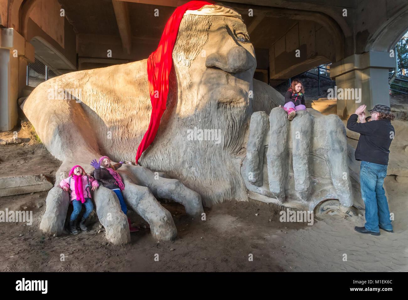 United States, Washington. Seattle,  Fremont, Troll - Stock Image