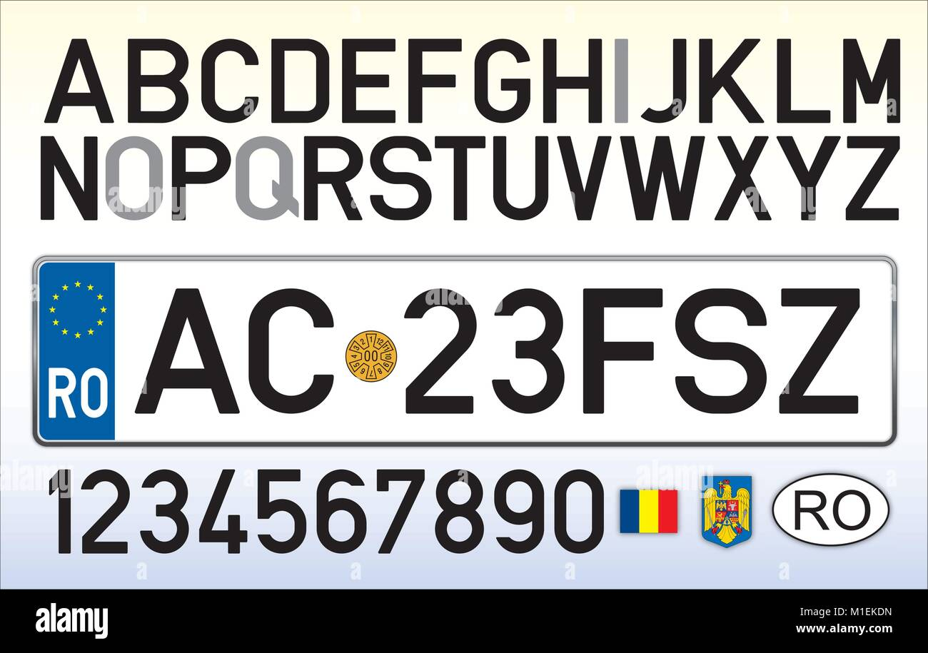 Romania car plate, letters, numbers and symbols - Stock Image