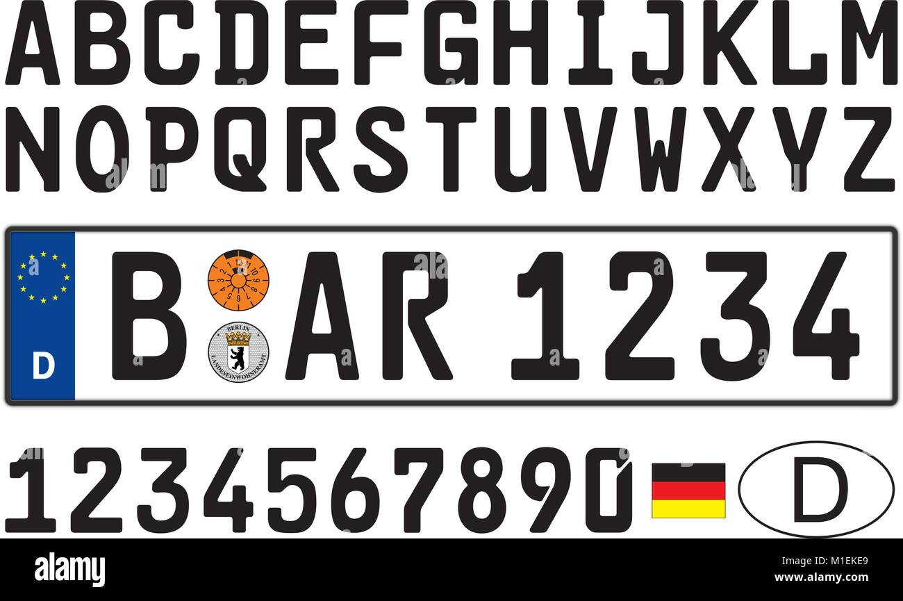 Germany car plate, letters, numbers and symbols - Stock Vector