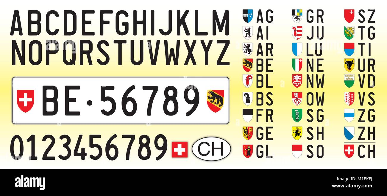 Switzerland car plate, letters, numbers and symbols - Stock Vector