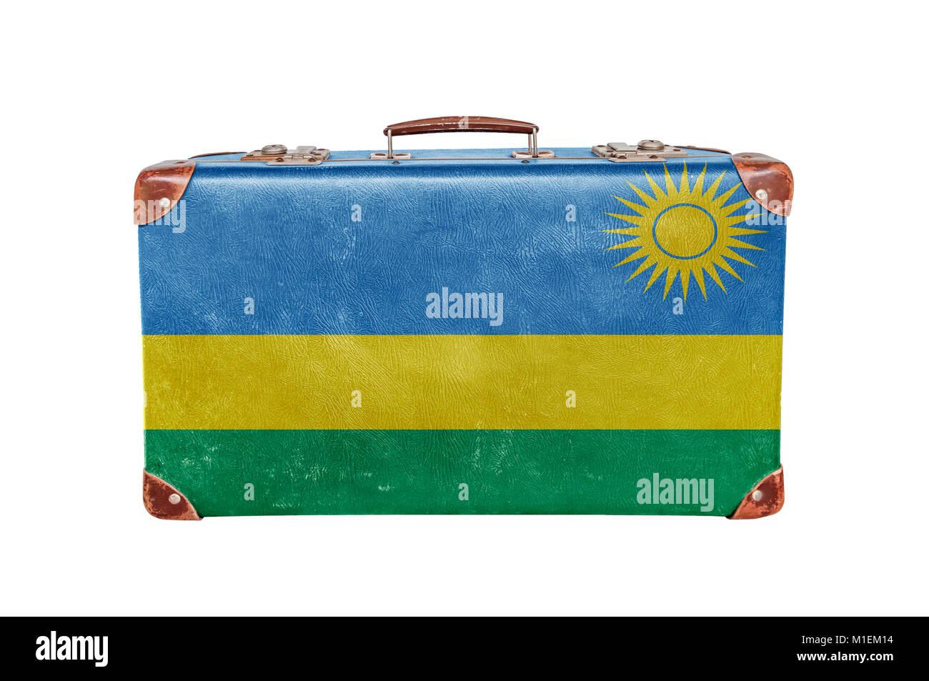 Vintage suitcase with Rwanda flag - Stock Image