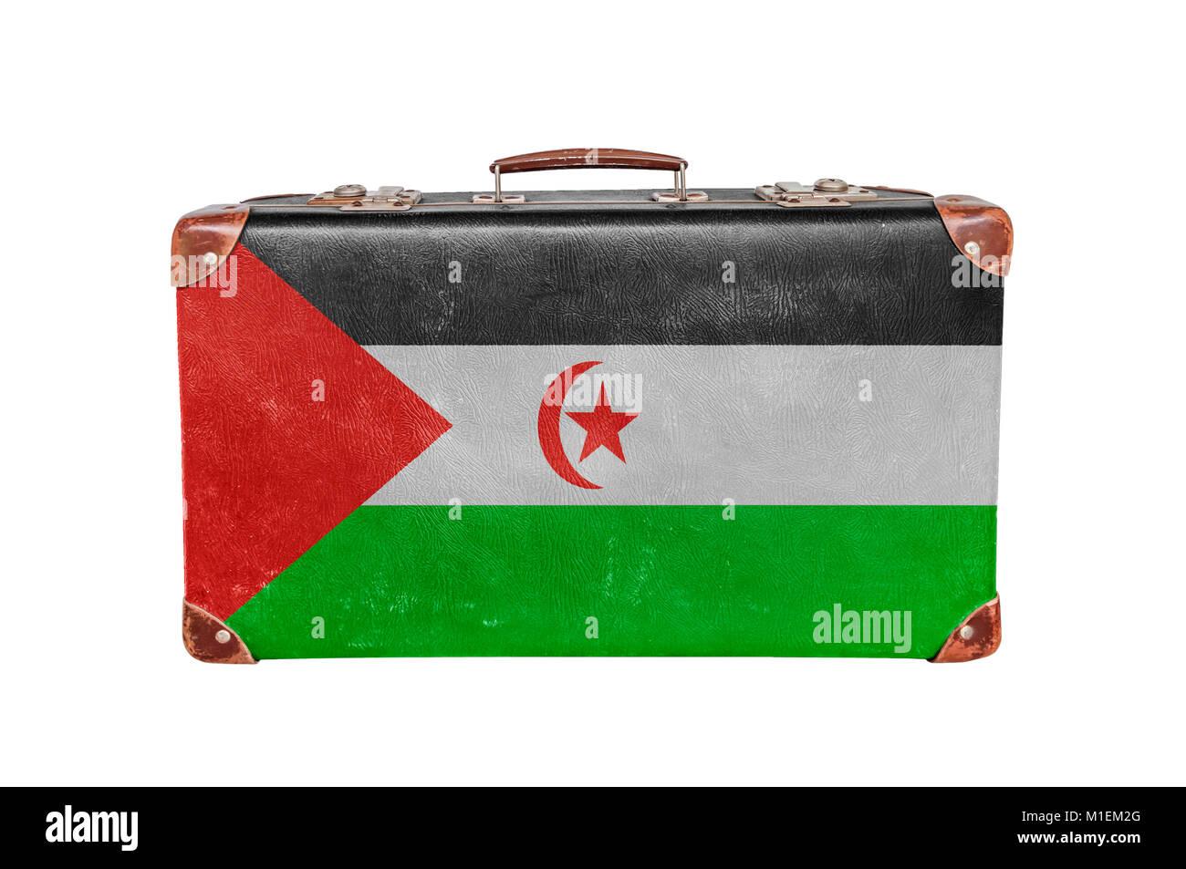 Vintage suitcase with Sahrawi Arab Democratic Republic flag - Stock Image