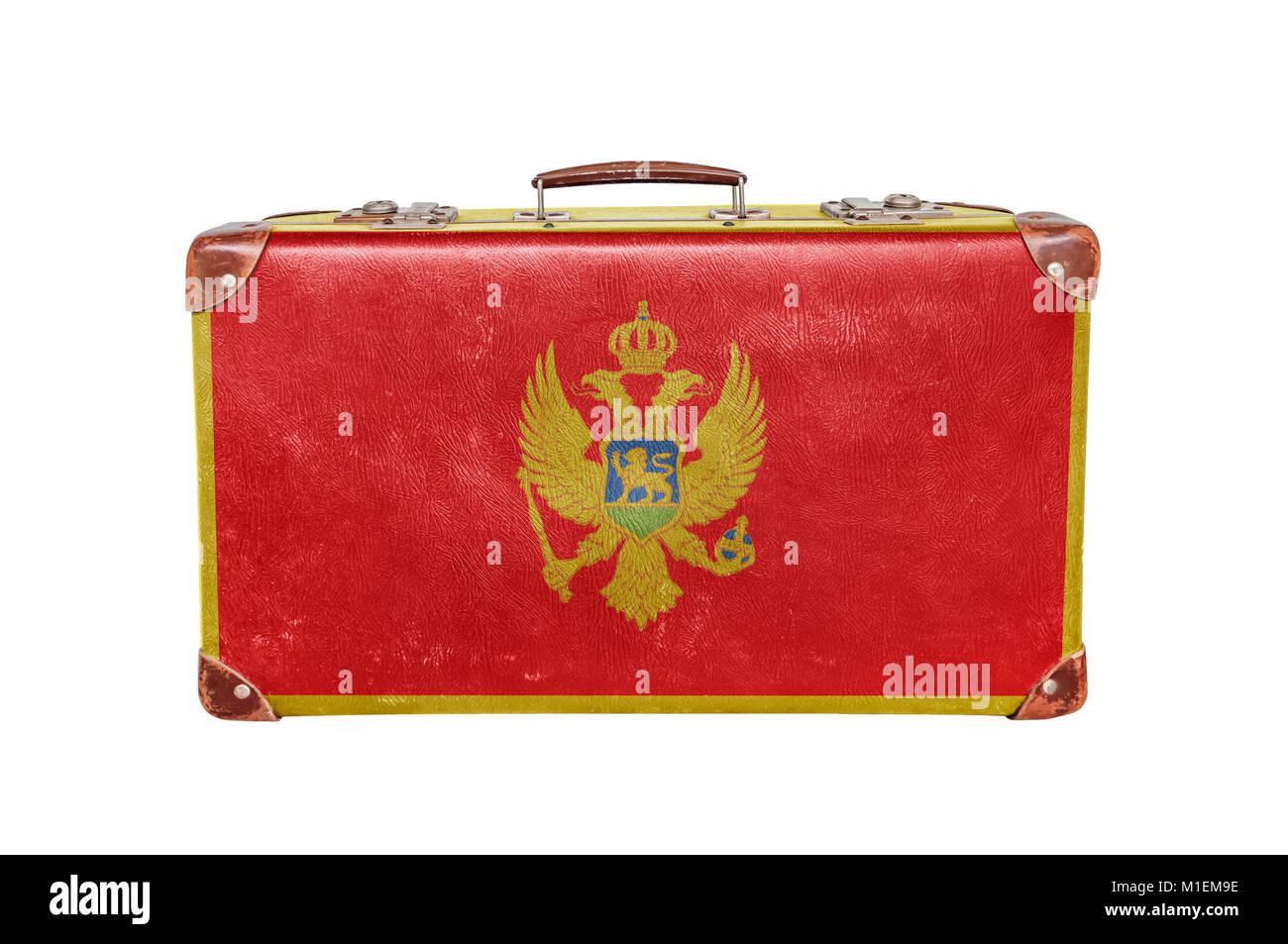 Vintage suitcase with Montenegro flag Stock Photo