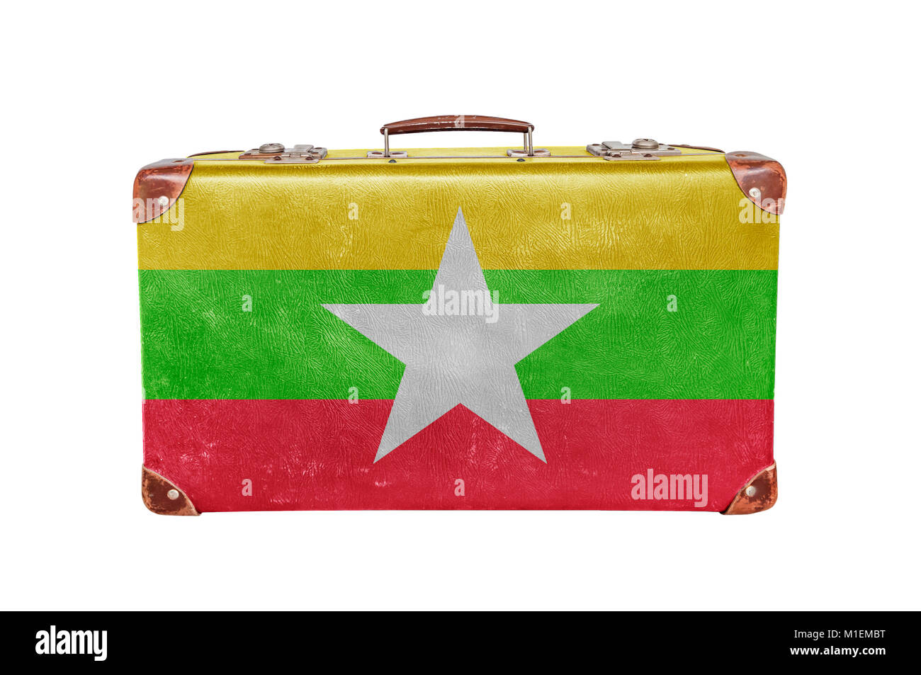 Vintage suitcase with Myanmar flag - Stock Image