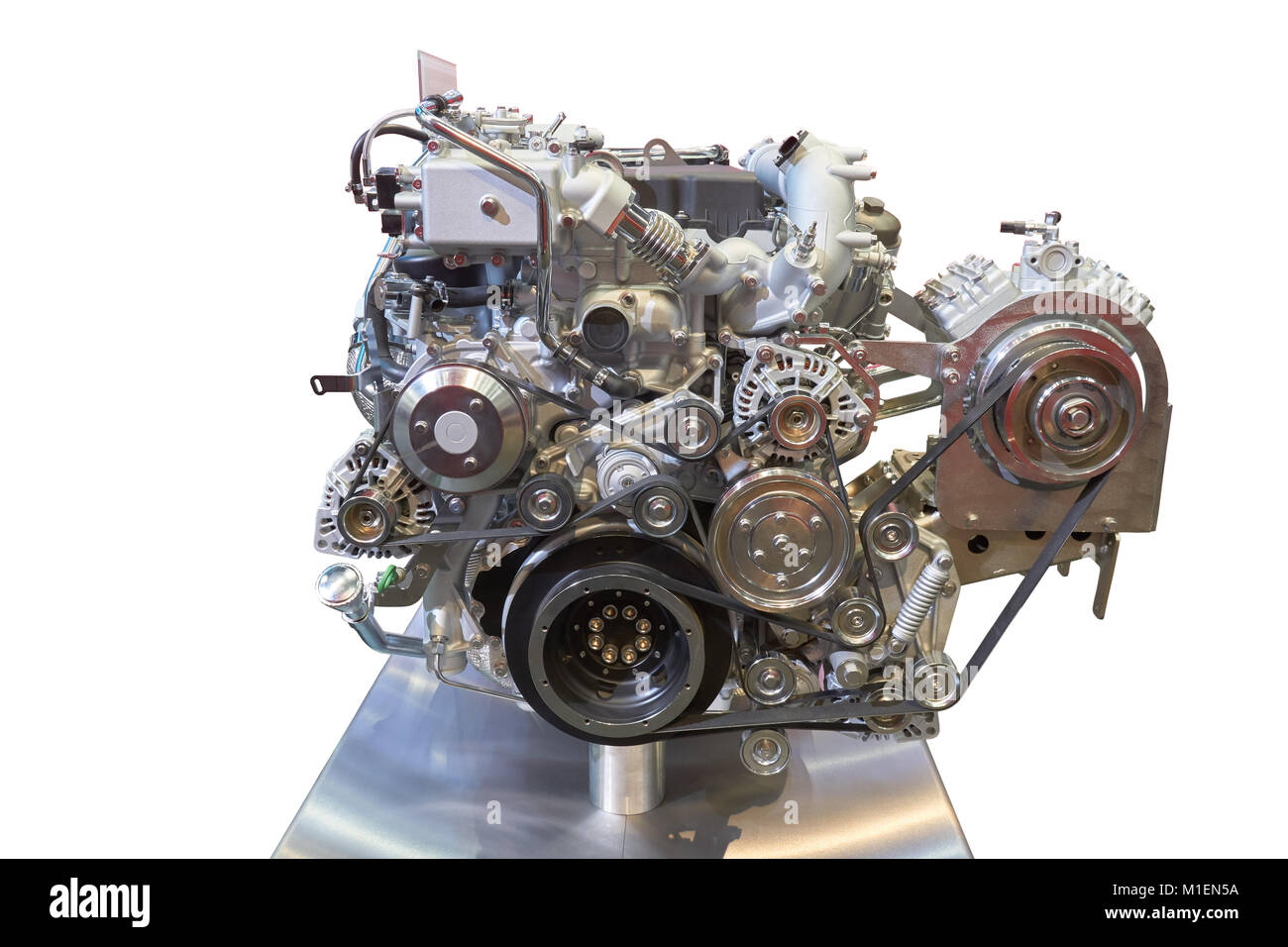 Front view of modern internal combustion engine of the truck Stock Photo