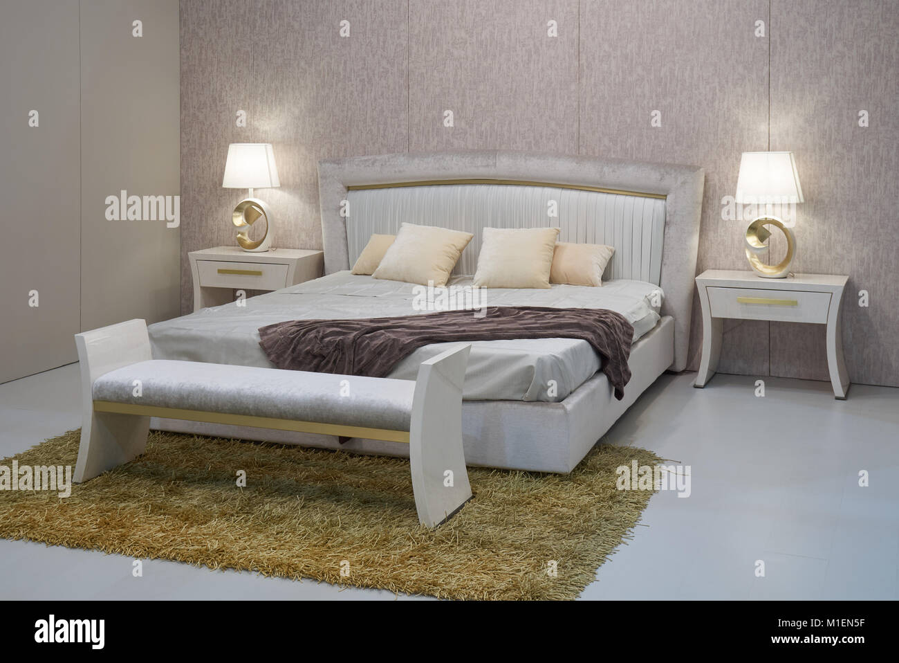 Beautiful Modern Bedroom With New Comfortable Double Bed
