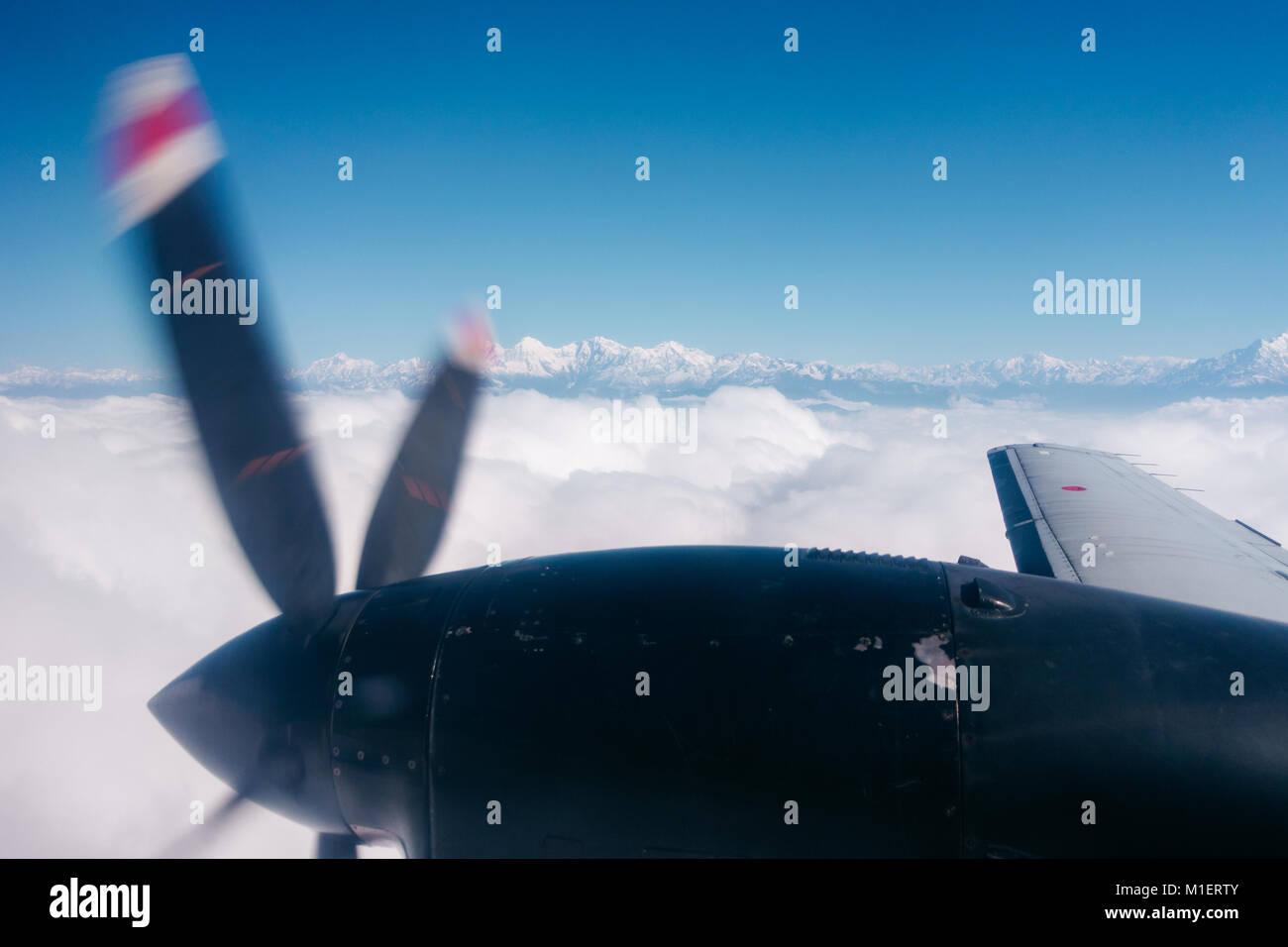 The Himalayas from a propeller plane, Nepal. Flight Kathmandu to Pokhara. - Stock Image