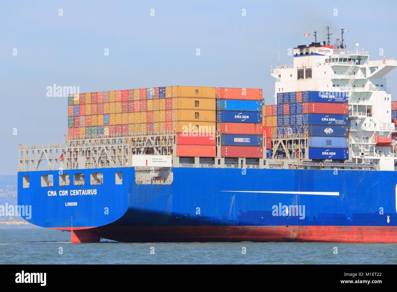SAN FRANCISCO, USA - APRIL 8, 2014: CMA CGM Centaurius container ship sails in San Francisco bay. CMA CGM is the - Stock Image