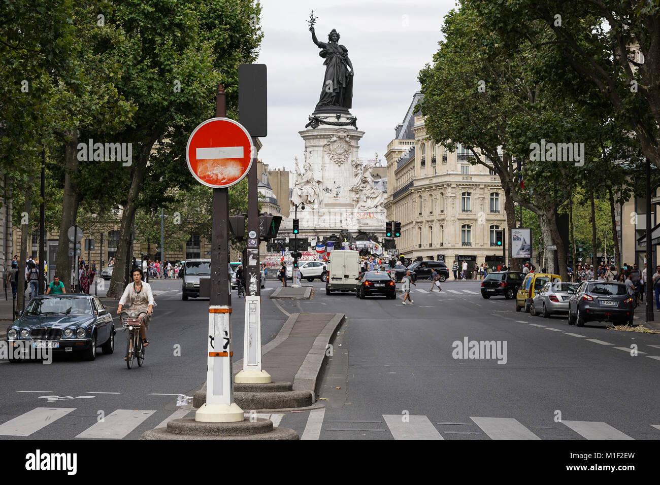 View of the Marianne statue at the Place de la Republique in Paris, France Stock Photo