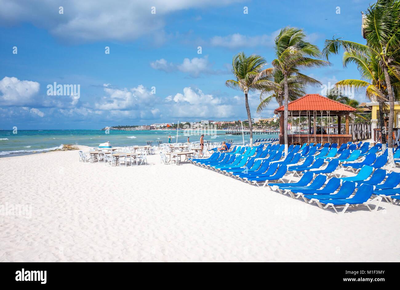 Playa Del Carmen, Mexico, Tourist facilities on the beach - Stock Image