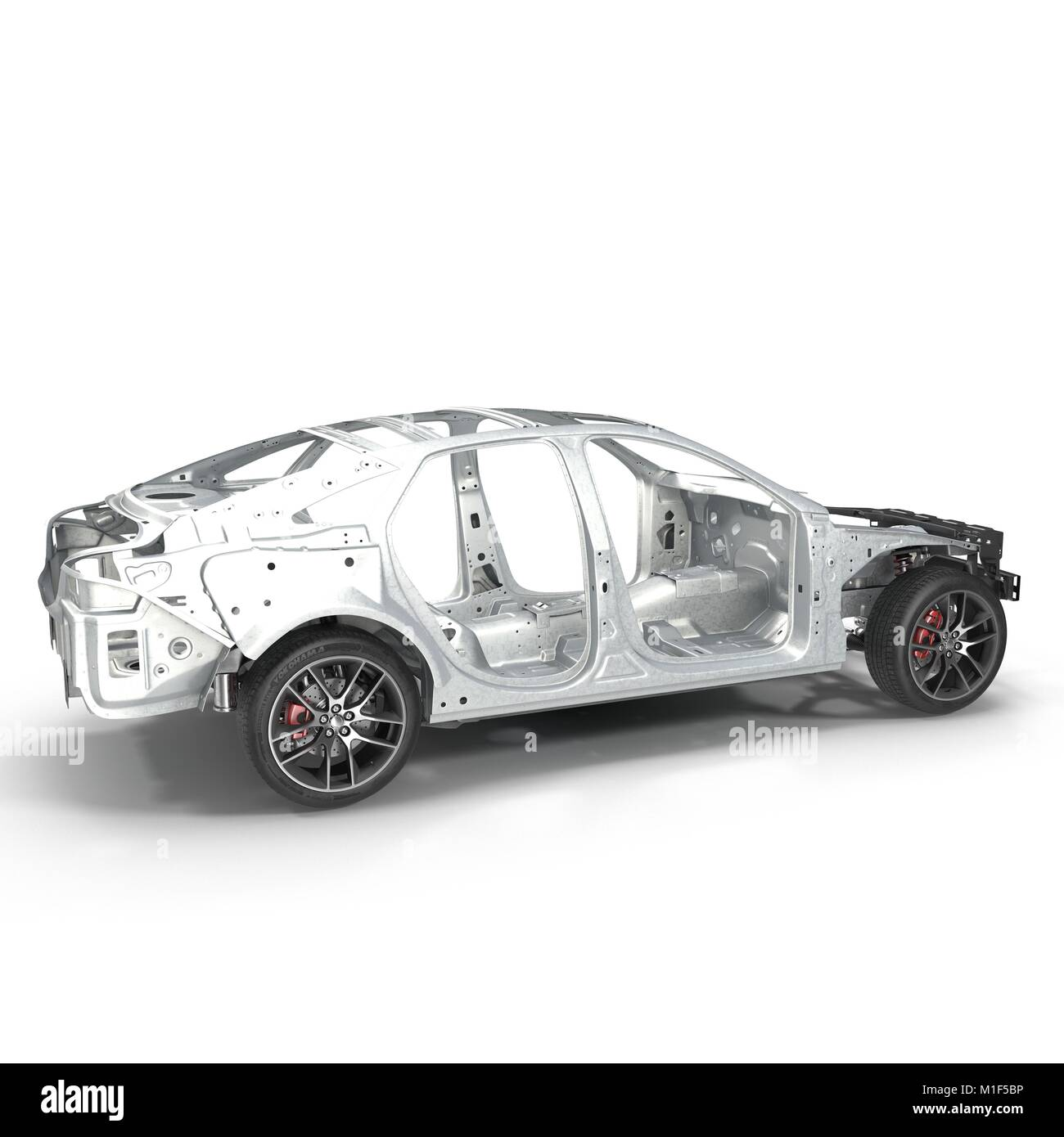 Car Frame with Chassis on white. 3D illustration Stock Photo ...