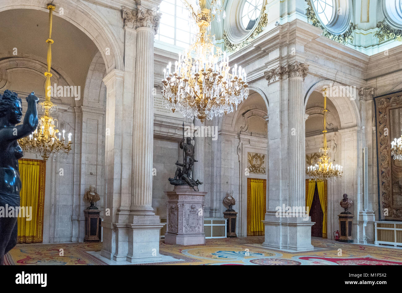 Madrid, Spain, The Halberdiers' Room of the Royal Palace - Stock Image