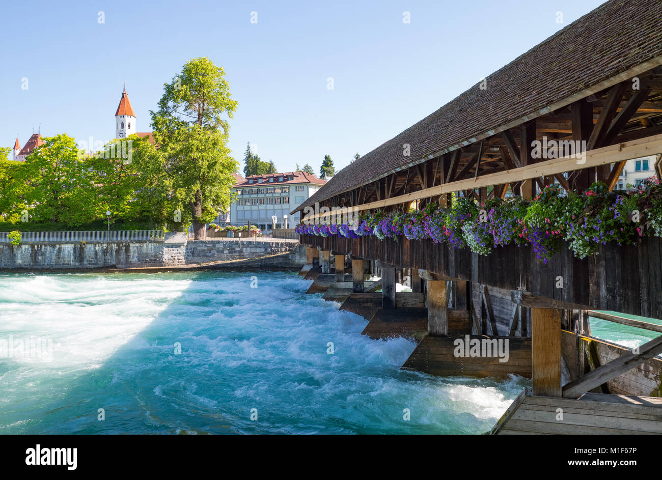 Switzerland, Thun, the Old Lock of the Aare river - Stock Image
