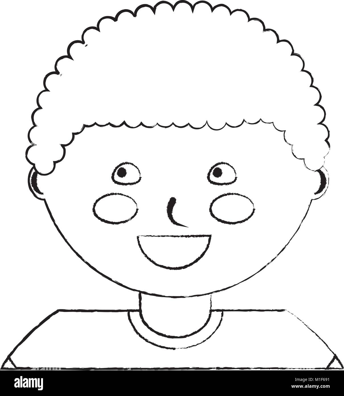 Happy cute boy face young character stock image