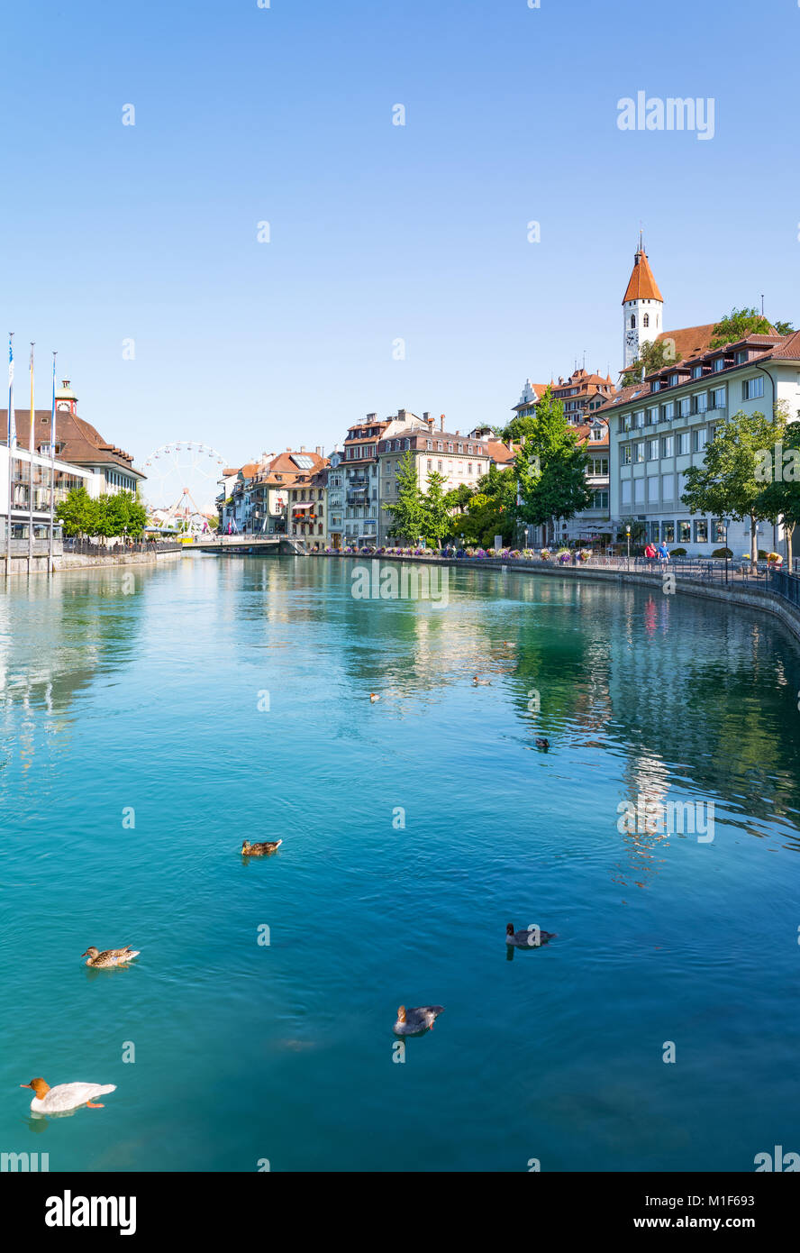 Thun, Switzerland,  The old country center seen from the Aare river - Stock Image