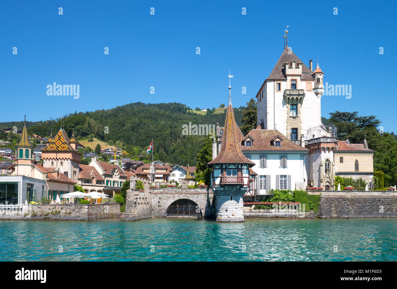 Oberhofen, Switzerland, View of the castle on the Thun lake - Stock Image