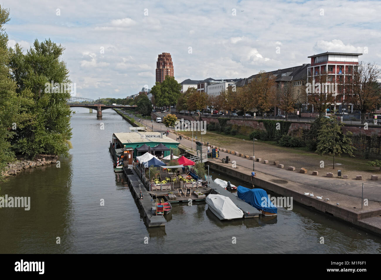 Floating Club on the Main river in Frankfurt am Main, Germany - Stock Image