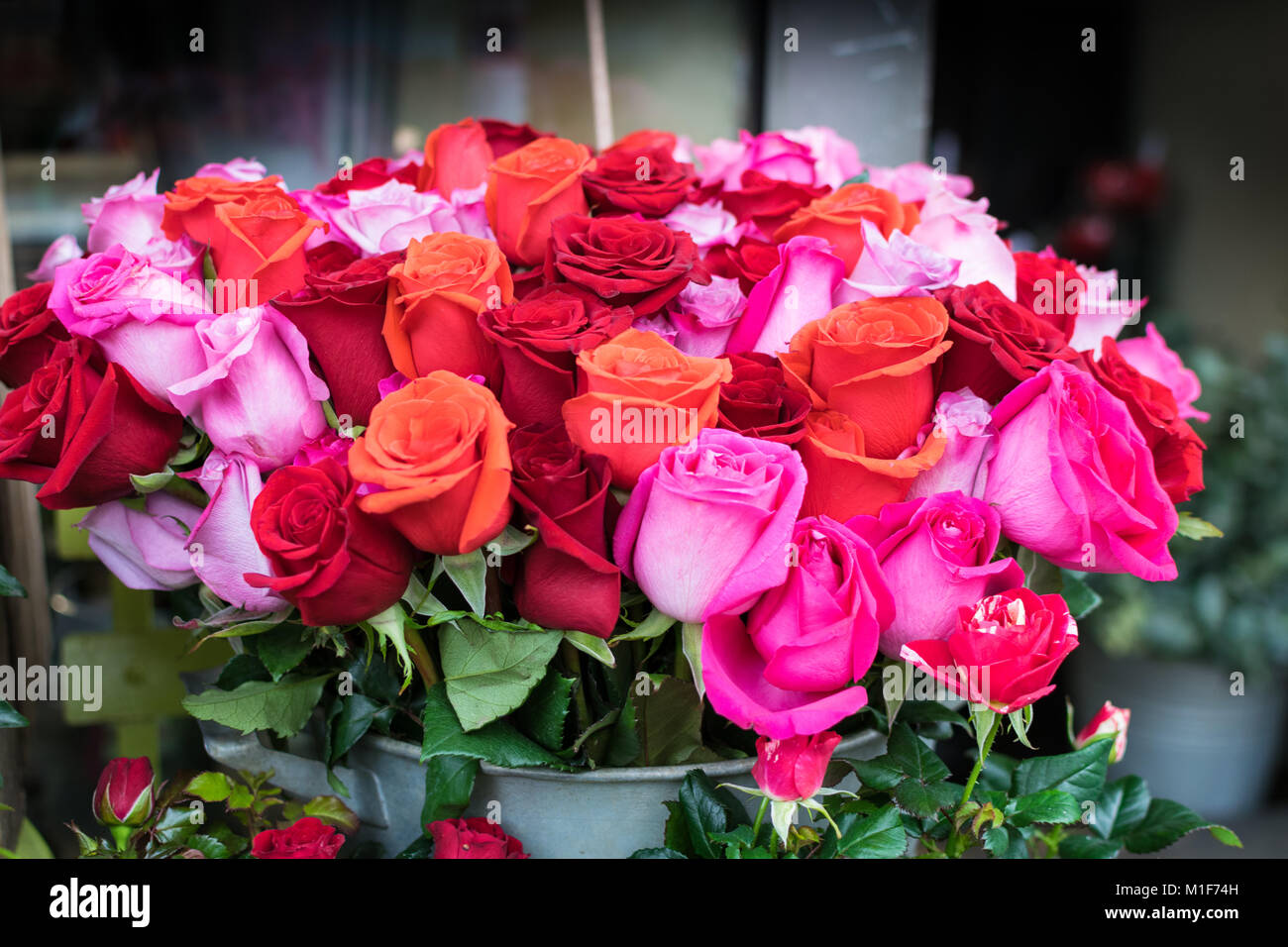 Beautiful flowers ready for valentines, bouquets of brightly colored ...