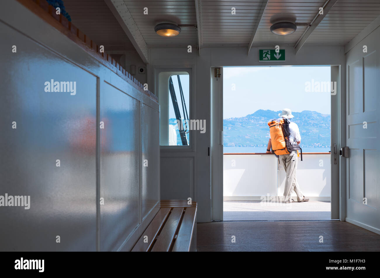 Lausanne, Switzerland, A tourist on a boat crossing the Leman lake - Stock Image