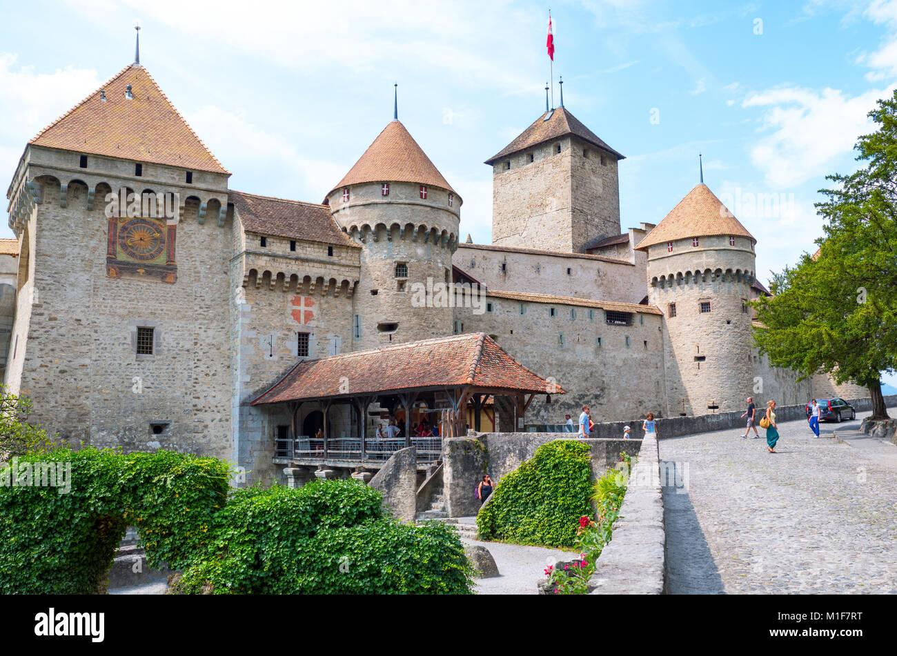 Montreux, Switzerland,  The Chillon castle on the Leman lake - Stock Image
