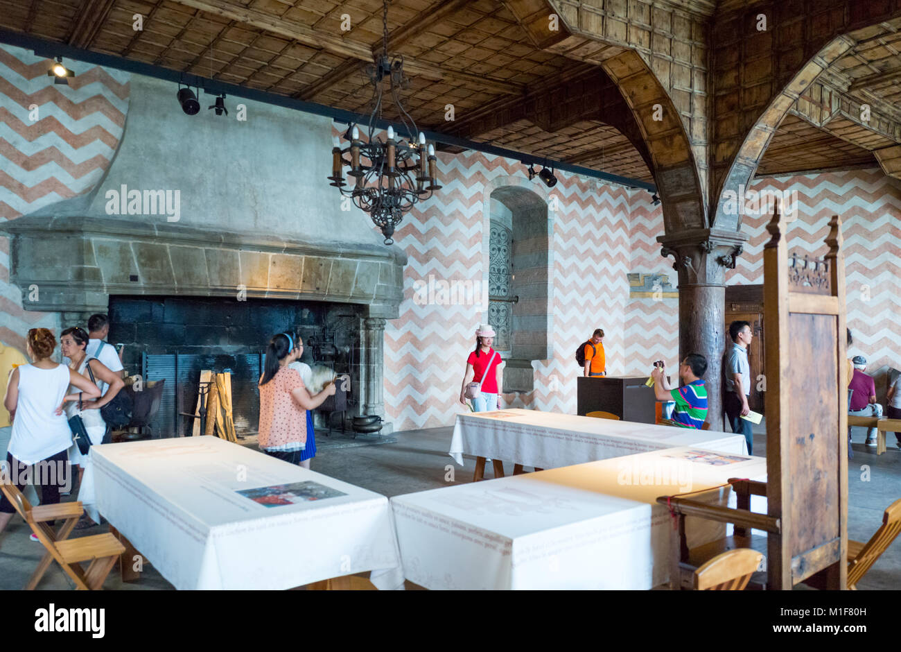 Montreux, Switzerland, Tourists in the main hall of the Chillon castle on the Leman lake - Stock Image