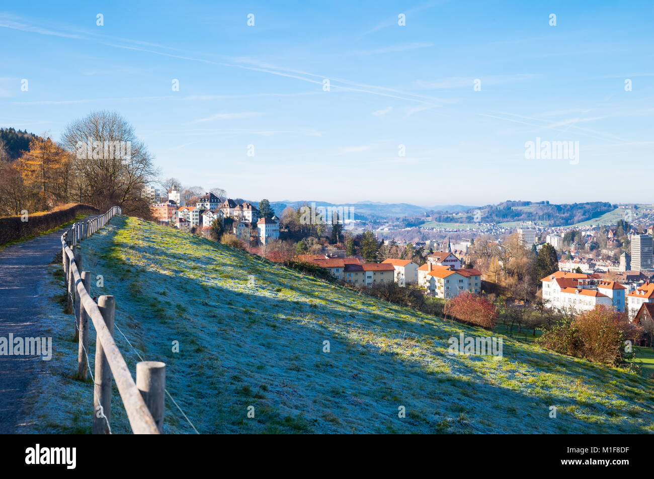 St.Gallen, Switzerland, View of the city from the Dreilinden recreational area - Stock Image