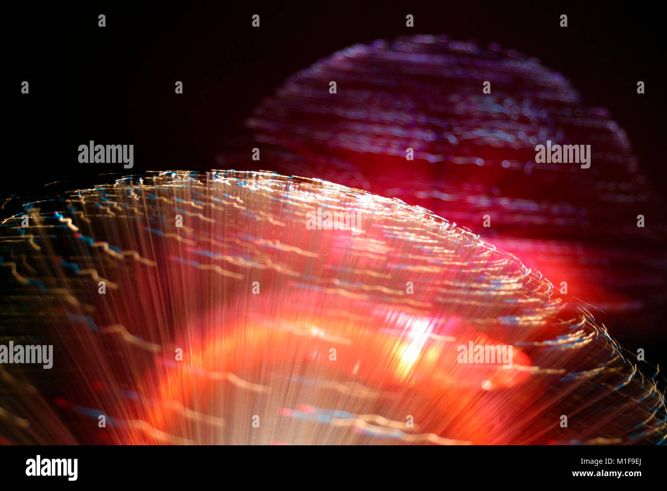 Fibre optic lamps, multi-coloured abstract on black background - Stock Image