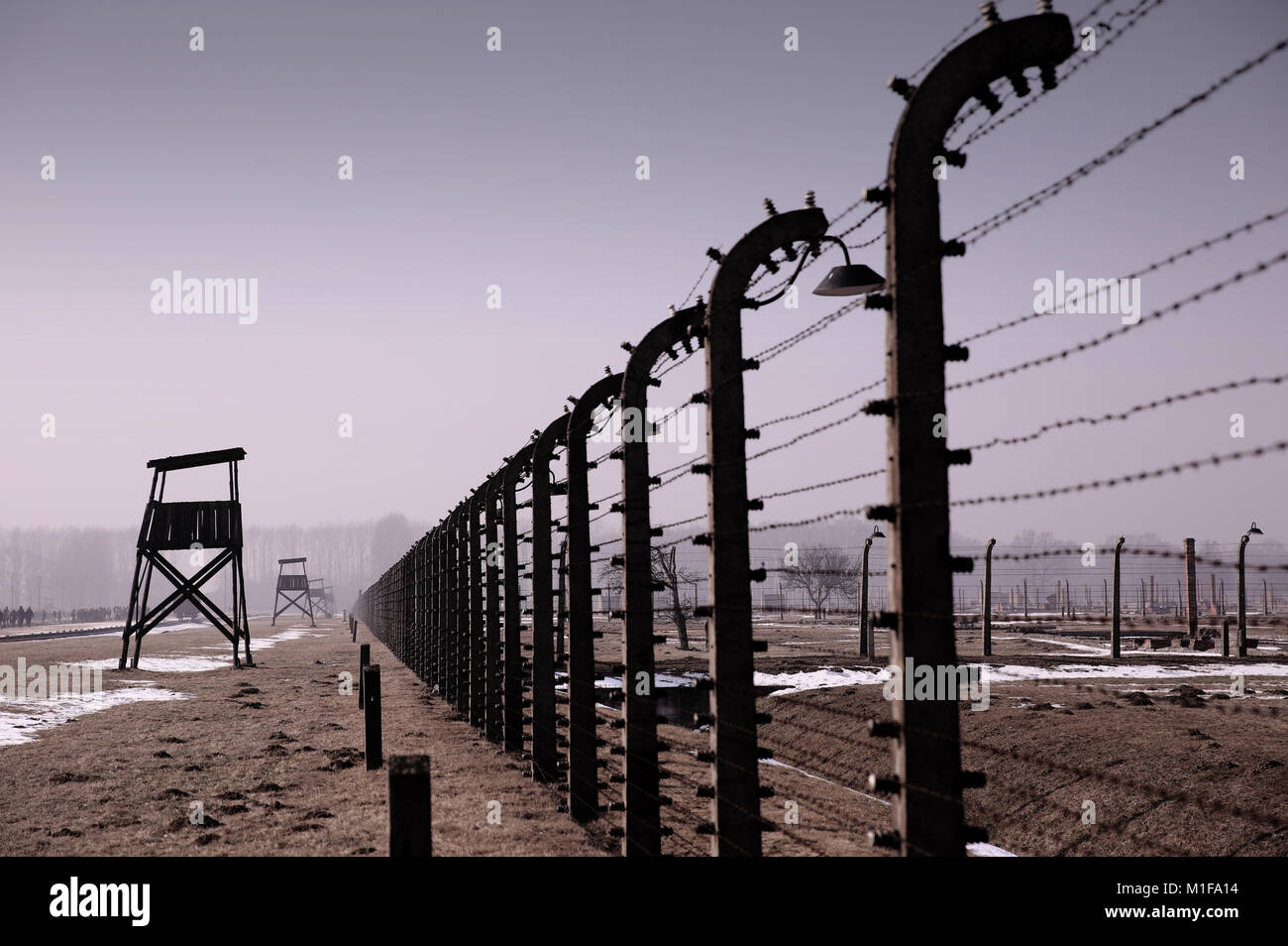 Electric fencing and watchtowers surrounding Auschwitz II Birkenhau former extermination camp. - Stock Image