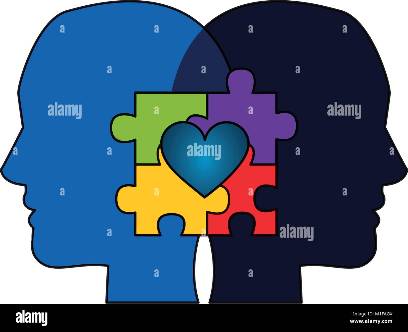 autism awareness day profile heads with puzzle heart - Stock Image