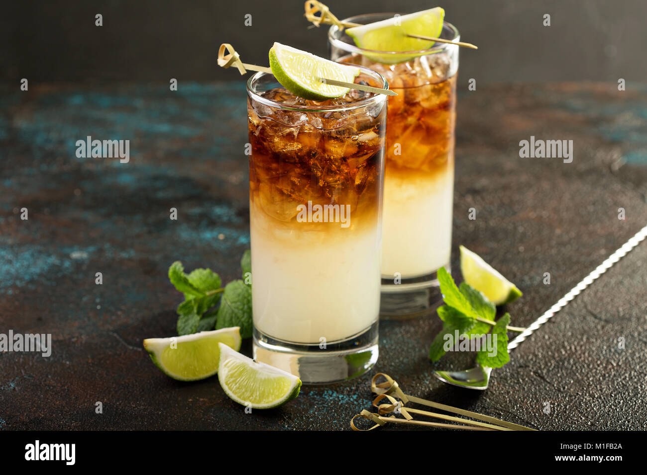 Dark and stormy cocktail with ginger ale and rum - Stock Image