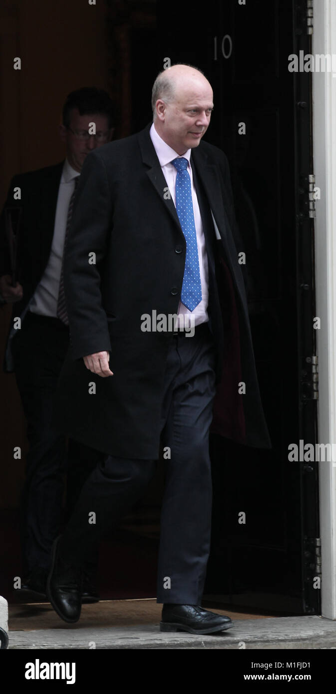 London, UK. 30th January, 2018. Chris Grayling Secretary of State for Transport seen leaving 10 Downing street, - Stock Image