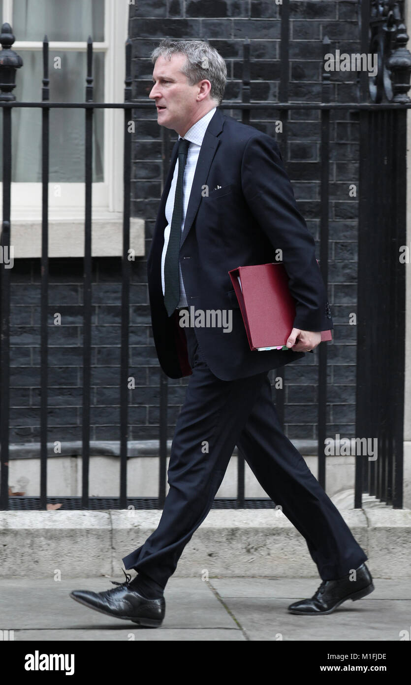 London, UK. 30th January, 2018. Damian Hinds Secretary of State for Education seen leaving 10 Downing street, London, - Stock Image